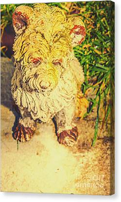 Cute Weathered White Garden Ornament Of A Dog Canvas Print