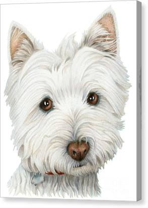 Cute Westie Dog Art Canvas Print