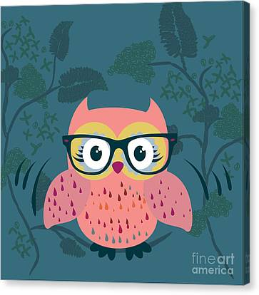 Cute Wild Life Hipster Owl. Canvas Print by Gal Amar