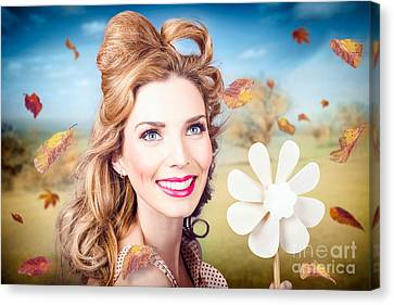 Pink Lipstick Canvas Print - Cute Woman With Magnificent Hair. Beauty In Nature by Jorgo Photography - Wall Art Gallery