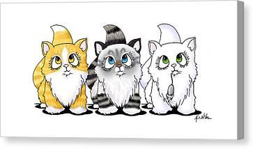 Cutie Face Kitten Trio Canvas Print by Kim Niles