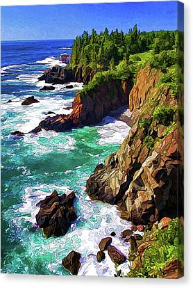 Rocky Maine Coast Canvas Print - Cutler Coast Whitewater by ABeautifulSky Photography by Bill Caldwell