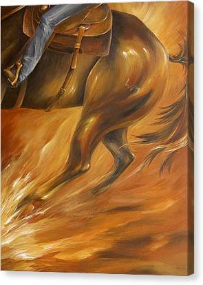 Canvas Print featuring the painting Cutting Horse Closeup 2 by Dina Dargo