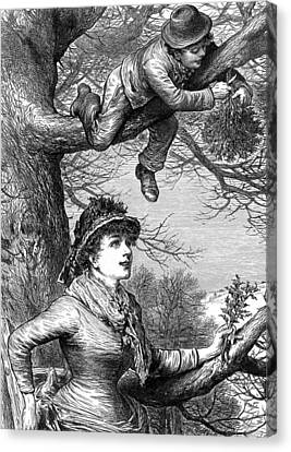 Bough Canvas Print - Cutting The Mistletoe Bough For Christmas Decoration by English School