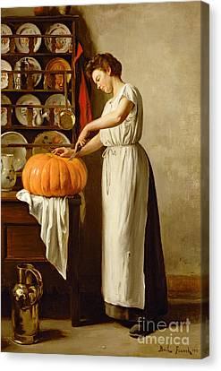 Cutting The Pumpkin Canvas Print by Franck-Antoine Bail