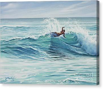 Cutting Through The Peak Canvas Print by Joe Mandrick