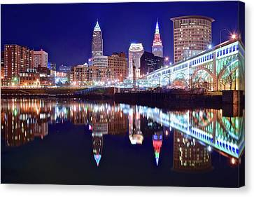 Cuyahoga Night Lights Canvas Print by Frozen in Time Fine Art Photography