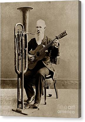C. W. J. Johnson With His One-man Band Invention 1880 Canvas Print by California Views Mr Pat Hathaway Archives