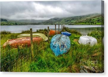 Cwmystradllyn Boats Canvas Print by Adrian Evans