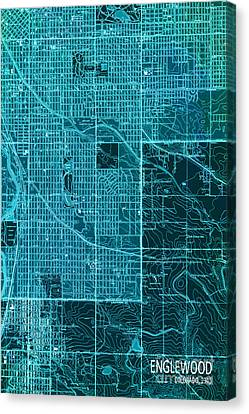 Antique Map Canvas Print - Cyan Englewood 1940 Abstract by Pablo Franchi