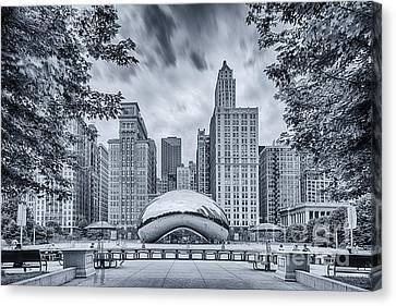 Cyanotype Anish Kapoor Cloud Gate The Bean At Millenium Park - Chicago Illinois Canvas Print