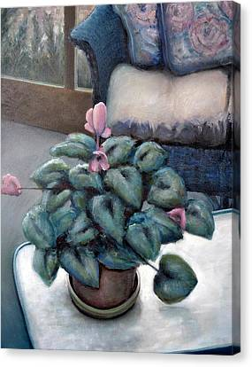 Interior Still Life Canvas Print - Cyclamen And Wicker by Michelle Calkins