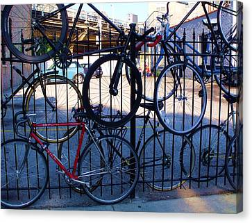 Cycle Fence Canvas Print by Anna Villarreal Garbis