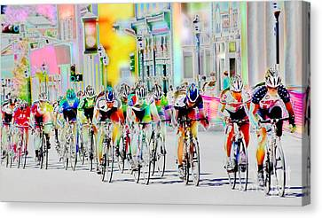 Cycling Down Main Street Usa Canvas Print by Vicki Pelham