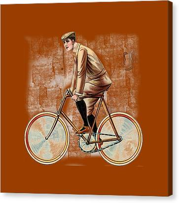 Canvas Print featuring the digital art Cycling Man T Shirt Design by Bellesouth Studio