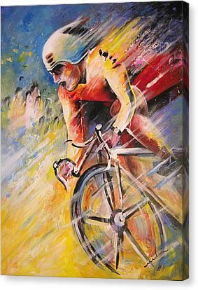 Cycling Canvas Print by Miki De Goodaboom