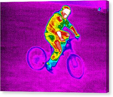 Cycling, Thermogram Canvas Print by Tony Mcconnell