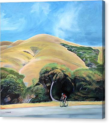 Cyclist By Elephant Mountain Canvas Print by Colleen Proppe