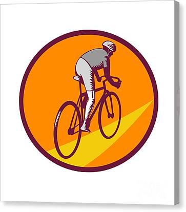 Cyclist Riding Bicycle Cycling Oval Woodcut Canvas Print by Aloysius Patrimonio