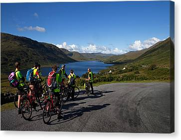 Cyclists Above Lough Nafooey, Shot Canvas Print by Panoramic Images