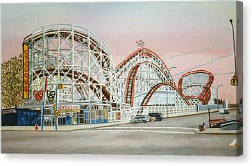 Cyclone Rollercoaster In Coney Island New York Canvas Print by Bonnie Siracusa