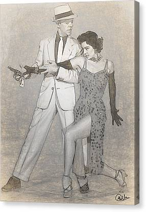 Cyd Canvas Print - Cyd Charisse - Fred Astaire Drawn by Quim Abella