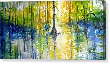Louisiana Sunrise Canvas Print - Cypress Bayou Wetlands by Marcia Baldwin