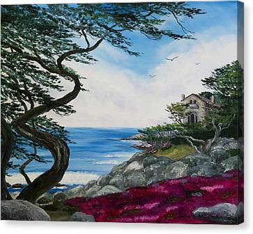 Cypress Tree At Carmel Canvas Print by Laura Iverson