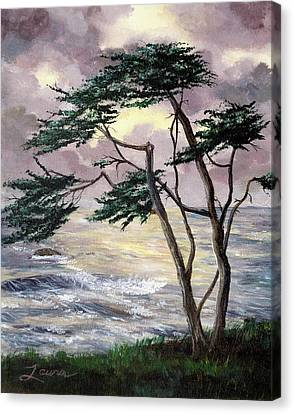 Cypress Tree Just Before The Rain Canvas Print by Laura Iverson