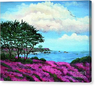 Cypress Trees By Lovers Point Canvas Print by Laura Iverson