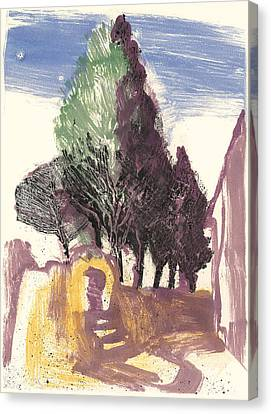 Canvas Print featuring the painting Cypresses Bonnieux by Martin Stankewitz