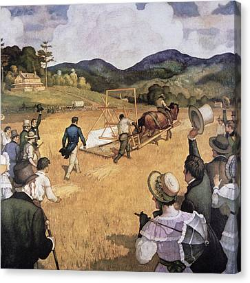 Cyrus H Mccormick And His Reaping Machine Canvas Print