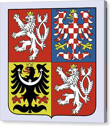 Canvas Print featuring the drawing Czech Republic Coat Of Arms by Movie Poster Prints