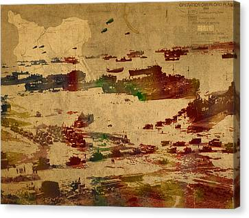 Old Canvas Print - D Day Landing At Normandy France World War Two Watercolor On Old Canvas Map Of War Plans by Design Turnpike