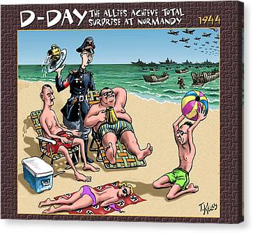 D-day - The Allies Achieve Total Surprise At Normandy Canvas Print by Travis Kelly