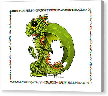 Canvas Print featuring the digital art D Is For Dragon by Stanley Morrison