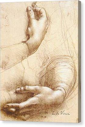 Da Vinci Study Of Hands Canvas Print by Tony Rubino