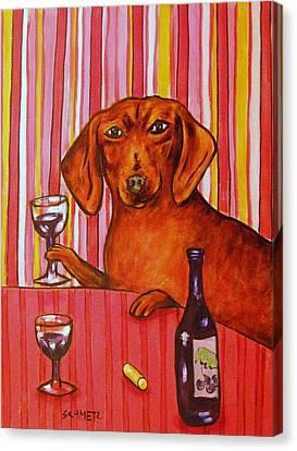 Dachshund At The Wine Bar Canvas Print by Jay  Schmetz