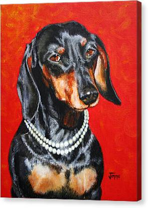 Dachshund In Pearls Canvas Print by Jimmie Bartlett