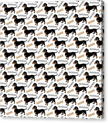 Dachshund Lover's Pattern Canvas Print