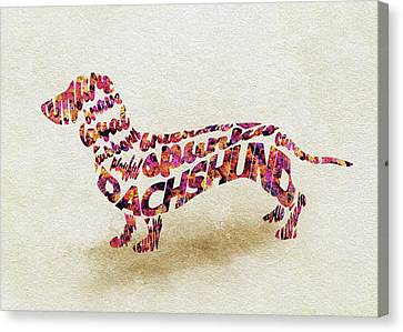 Dachshund / Sausage Dog Watercolor Painting / Typographic Art Canvas Print