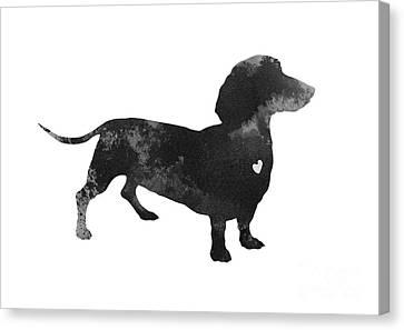 Dachshund Watercolor Black Silhouette Canvas Print by Joanna Szmerdt