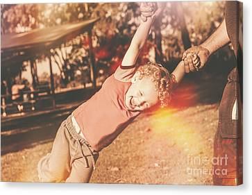 Dad Spinning Laughing Boy Propeller Style Canvas Print