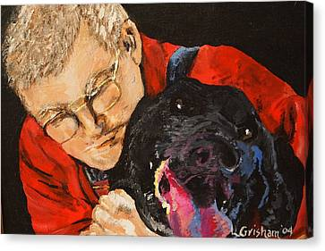Canvas Print featuring the painting Daddy And Borus by Laura  Grisham