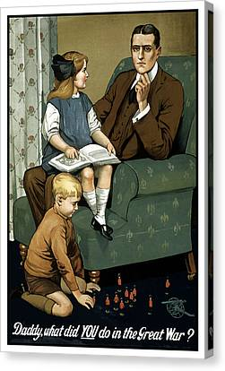 Daddy What Did You Do In The Great War Canvas Print by War Is Hell Store