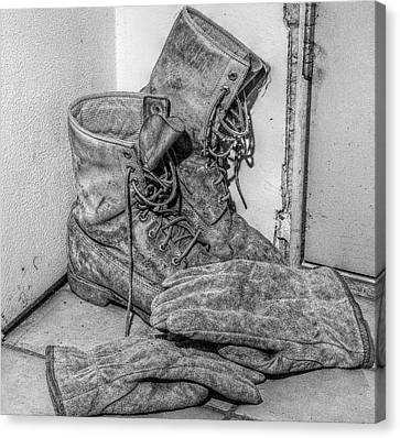 Dads Boots Canvas Print by Randy Steele