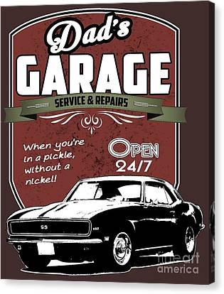 Dad's Garage-service And Repairs Canvas Print by Paul Kuras
