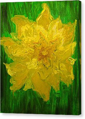 Canvas Print featuring the painting Daffodil by Evelina Popilian