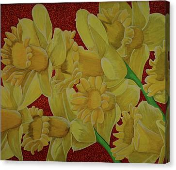 Canvas Print featuring the painting Daffodil Grandiflora by Paul Amaranto