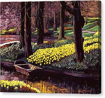 Rowboat Canvas Print - Daffodil Park by David Lloyd Glover